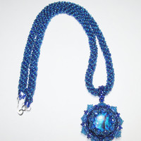 Necklace with Teal Blue Iridescent Cabochon and Sapphire Crystals 19.25in