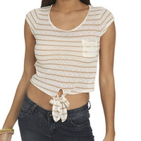 Striped ZigZag Lace Tee | Shop Tops at Wet Seal