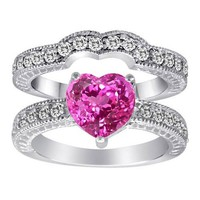 Original Star K(tm) 8mm Heart Shape Created Pink Sapphire Wedding Set