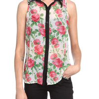 Floral Spike Collar Top | Hot Topic
