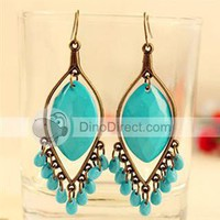 CC Retro Water-drop Pattern Tassels Alloy Women Drop Earrings - US DinoDirect.com