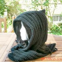 Crocheted  Womens Hat - The Hoodie in Black - Hooded Scarf