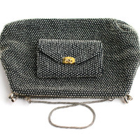 SALE - Vintage Gray Clear Beaded Purse - 1950s Evening Bag, Matching Change Purse Designer Lumured / Petite Bead