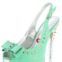 Red Kiss Holly Light Mint Bow Spiked Pumps | MakeMeChic.com