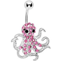 Amazon.com: Pink Gem Encrusted Floating Octopus Belly Button Ring: Jewelry