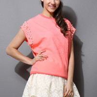 Pearly Floral Embossment Pink Top