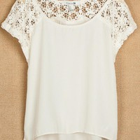 Lace Stitching Short Sleeve Chiffon Shirt