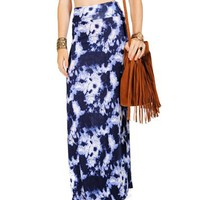 Navy/Blue/White Tie Dye Maxi Skirt