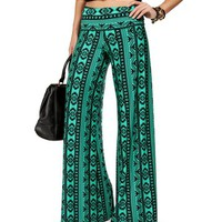 Green/Black Fold Over Waist Tribal Pants