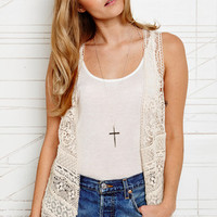 Ecote Crochet Tiered Vest at Urban Outfitters