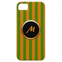 Orange and Green Striped Monogram Case for iPhone5 iPhone 5 Covers from Zazzle.com
