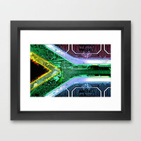 circuit board South Africa (Flag) Framed Art Print by seb mcnulty