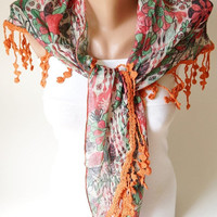 SALE - Two side Red,Green  and Purple, Orange Scarf from %100 cotton with flora desing and rose lace