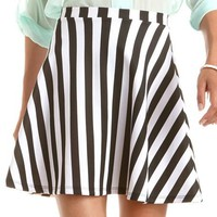 Striped Scuba Skater Skirt: Charlotte Russe