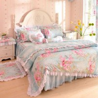 DIAIDI,Floral Bedding Set,Flower Print Bed Set,Lace Ruffle Duvet Cover Set,Rustic Bedding,Twin Queen King,4Pcs (TWIN)