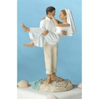 """Just Married"" Beach Wedding Figurine/ Cake Topper- Caucasian"