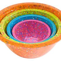 Zak Designs Confetti Assorted Brights Mixing Bowls, Set of 4