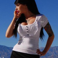 Deadly Dames &quot;Dolly&quot; Top in White Stretch Cotton