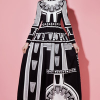 Shop Vintage | 70s Black White Op Art Rhinestone Maxi Dress | Thrifted & Modern