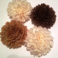 15 Large Tissue Paper Pom Poms - Beige & Brown Birthday/Wedding Shower/Baby Shower/Bridal Shower
