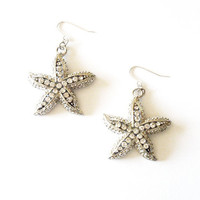 Rhinestone Starfish Earrings - Silver Starfish Earrings - Rhinestone Starfish Jewelry - Beach Bridal Earrings - Beach Theme Wedding Jewelry
