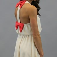 Double Bow Back Dress - Cream