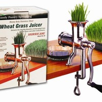 Hurricane Stainless Steel Manual Wheatgrass Juicer- Hand Crank Juice Extractor for Wheat Grass &amp; Barley Grass Juicing