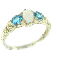 Ladies Solid Sterling Silver Natural Opal & Blue Topaz English Victorian Trilogy Ring - Size 6.5 - Finger Sizes 5 to 12 Available