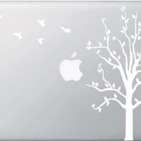 Amazon.com: Apple Tree with Birds - WHITE - Macbook or Laptop Decal: Computers & Accessories