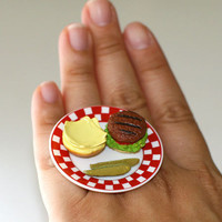 Kawaii Miniature Food Ring - Cheese Hamburger with Pickles