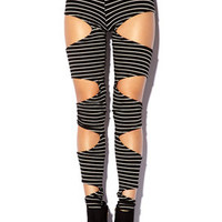 Striped Cutout Leggings