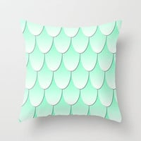 Fish Scale Pattern - Mint/White Throw Pillow by Lyle Hatch