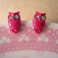 Owl Earrings hot pink by Bitsofbling on Etsy
