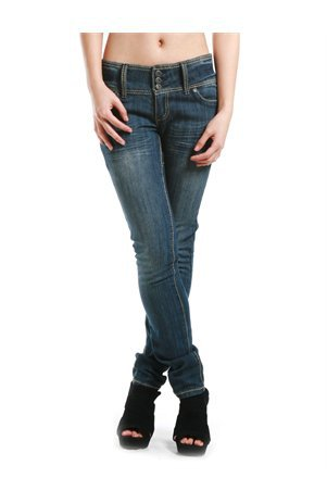 A'GACI Three Button Thick Stitch Skinny Jean - Denim