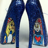 ALICE IN WONDERLAND BLUE GLITTER BORDELLO HIGH HEEL ART SHOES UK5 US8 BURLESQUE | eBay