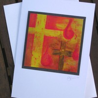 Easter card - handmade - fine art print Christian art - cross