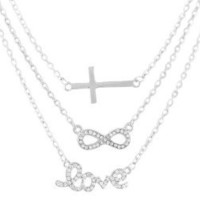 Amazon.com: Ladies Silver with Clear Iced Out Cross, Infinity & Love Pendant Three Adjustable Link Chain Necklace: Jewelry