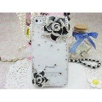 3d Bling Crystal Rhinestone Flower Transparent Case Cover for Apple Iphone 4 and 4s (Color: Black): Cell Phones & Accessories