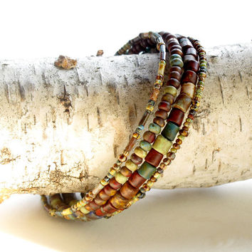 Beaded bracelet stack - Boho earthy brown, tan, red & turquoise beads wrap around 4x