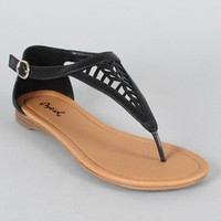 Qupid Agency-198 Cut-Out Thong Flat Sandal