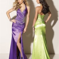Column Floor Length Halter Open Back Purple Or Apple Green Ed1030 Sequins High Slit Evening Dress EVD087