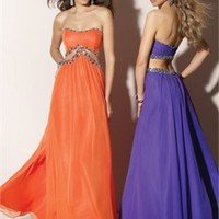 A-line Floor Length Strapless Open Back Purple Or Orange Ed1010 Sequins Evening Dress EVD080