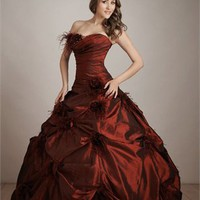 Classic Natural Waist Taffeta Ball Gown Quinceanera Dress QD094
