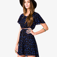 Ditsy Floral Print Dress w/ Skinny Belt