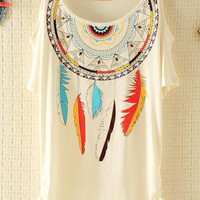 Dream Catche Ethnic Rivet Strapless T-shirt