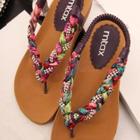 Colorful Braided Flat Sandals B060506