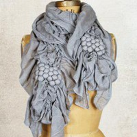 Lace and Bobble Scarf