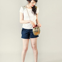High waist navy short pants with pockets