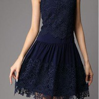 Unique Hollow Out Hook Flower With Lace Skirt  from styleonline