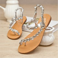 Czech Rhinestone Thongs Sandals | yomico